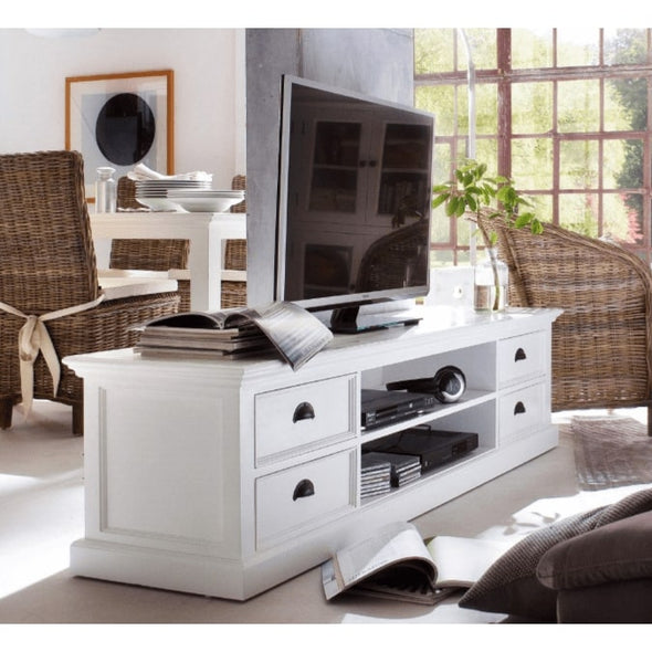 Halifax White Painted TV Unit with 4 Drawers - White Tree Furniture