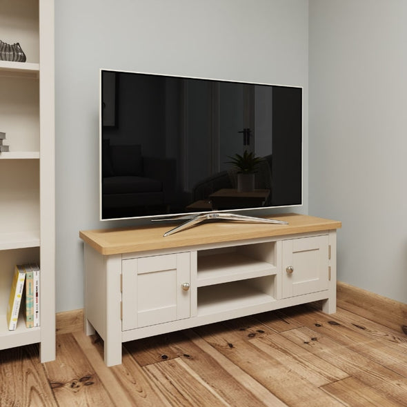Toulouse Grey Painted Oak Large TV Unit - White Tree Furniture