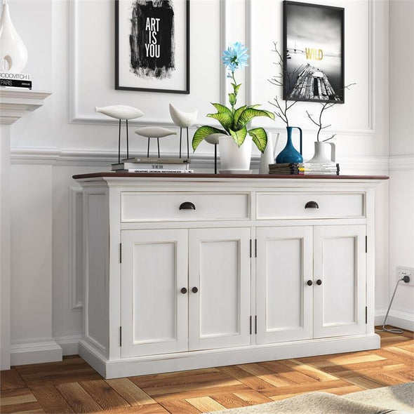 Nova Solo Halifax Accent White Rustic Sideboard with Wooden Top B127TWD