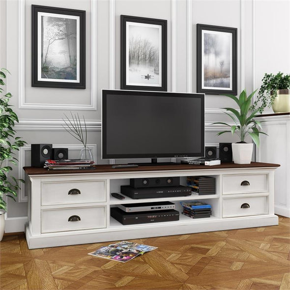 Nova Solo Halifax Accent White Painted TV Unit with 4 Drawers CA631TWD