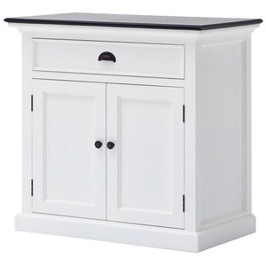 Nova Solo Halifax Contrast Small White Rustic Sideboard with Wooden Top B180CT