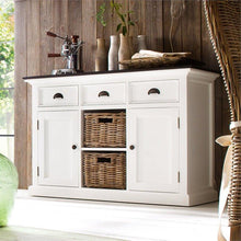 Nova Solo Halifax Contrast White Buffet with 2 Baskets and Wooden Top B129CT