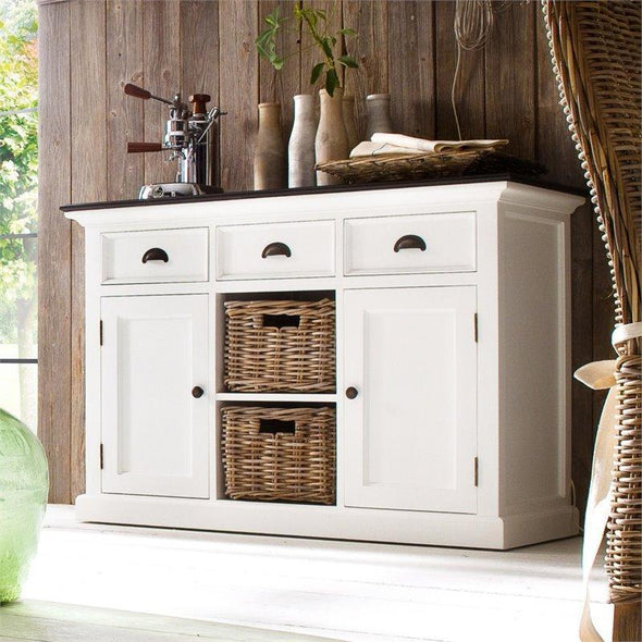 Nova Solo Halifax Contrast White Painted Buffet Sideboard with Rattan Baskets B129CT