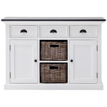 Nova Solo Halifax Contrast White Rustic Sideboard with Rattan Basket Drawers B129CT