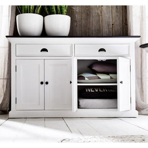 Nova Solo Halifax Contrast White Painted Buffet Sideboard with Wooden Top B127CT
