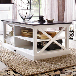Nova Solo Halifax Contrast White Rustic Coffee Table with Wooden Top T756CT