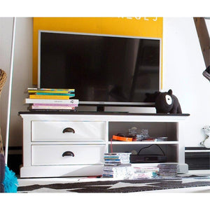 Nova Solo Halifax Contrast White Painted TV Unit with Wooden Top and 2 Drawers CA592-120CT