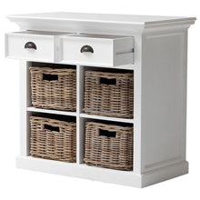 Nova Solo Halifax White Painted Small Buffet Sideboard with Rattan Baskets B181 - White Tree Furniture