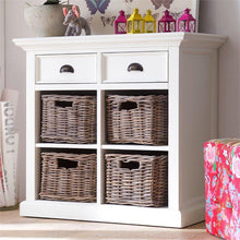 Nova Solo Halifax Small White Sideboard with Rattan Basket Drawers B181