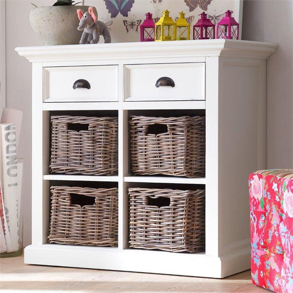 Nova Solo Halifax Small White Buffet Sideboard with Basket Set B181