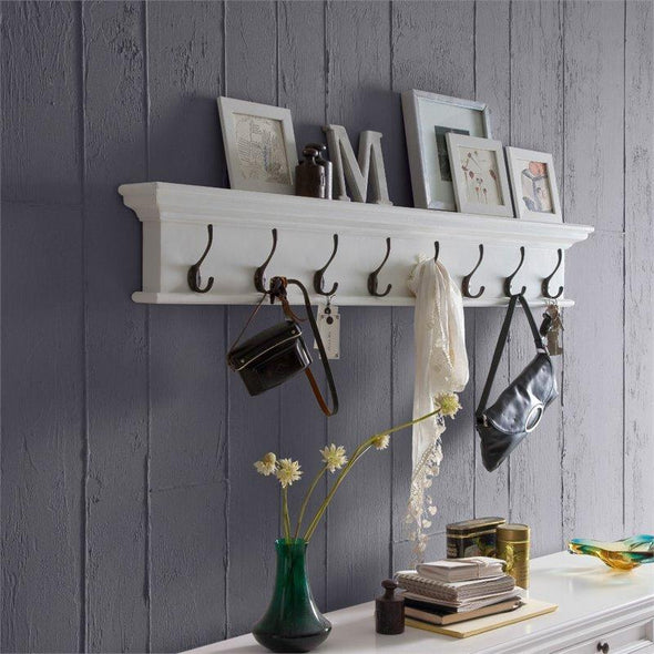 Halifax White Coat Rack with 8 Hooks 130cm D161 - White Tree Furniture
