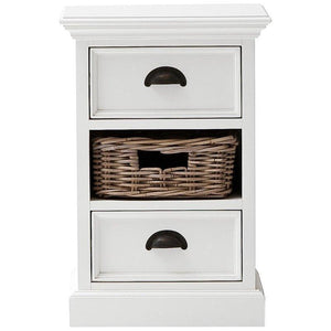 Nova Solo Halifax White Bedside Storage Unit with Basket CA585