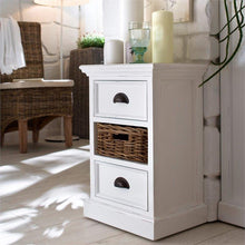 Nova Solo Halifax White Bedside Table with Rattan Basket Drawer CA585