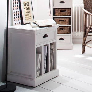 Nova Solo Halifax White Bedside Table with Dividers T757