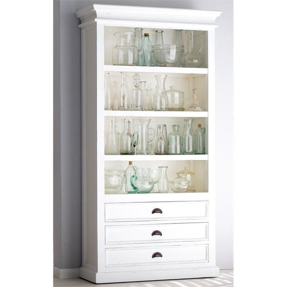 Nova Solo Halifax White Bookcase with 3 Drawers CA580