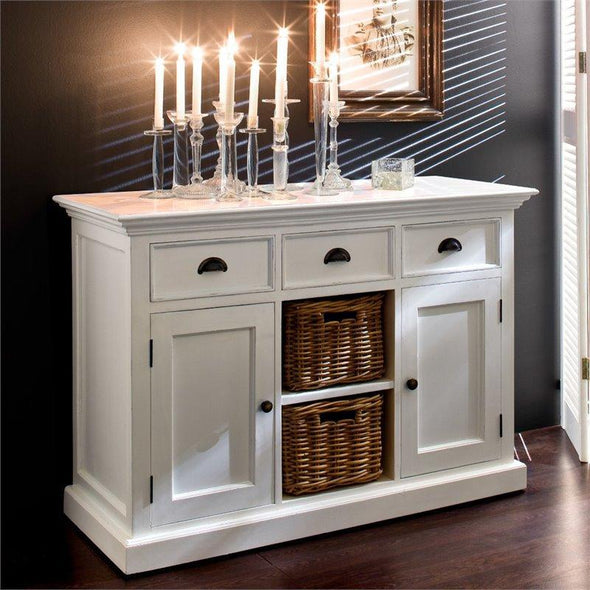 Nova Solo Halifax White Buffet Sideboard with 2 Baskets B129