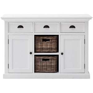 Nova Solo Halifax White Rustic Sideboard with 2 Rattan Basket Drawers B129