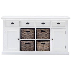 Nova Solo Halifax White Rustic Sideboard with 4 Rattan Basket Drawers B189