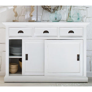 Nova Solo Halifax White Buffet Sideboard with Sliding Doors B130