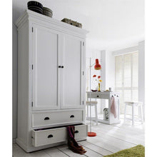 Halifax White Painted Double Wardrobe with Drawers W001 - White Tree Furniture