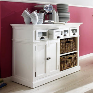 Halifax White Painted Kitchen Buffet with Rattan Baskets - White Tree Furniture