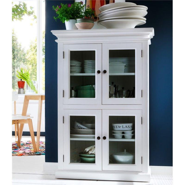 Nova Solo Halifax Small White Kitchen Pantry Unit with Glass Doors CA609