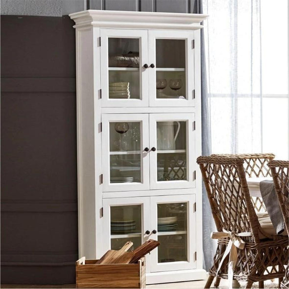 Halifax White Storage Cabinet with Glass Doors CA610 - White Tree Furniture
