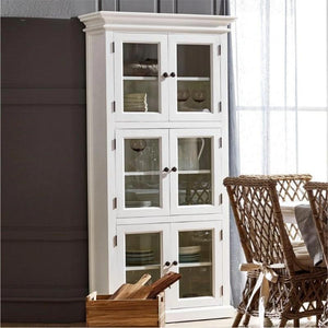 Nova Solo Halifax Tall White Storage Cabinet with Glass Doors CA610