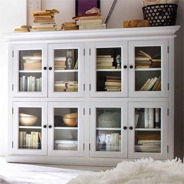 Nova Solo Halifax White Storage Cabinet with Glass Doors CA615