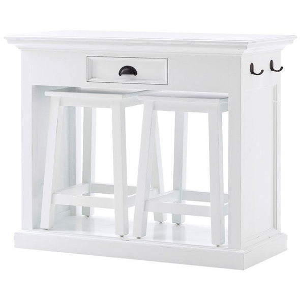 Halifax White Painted Kitchen Breakfast Table with 2 Stools T767 - White Tree Furniture