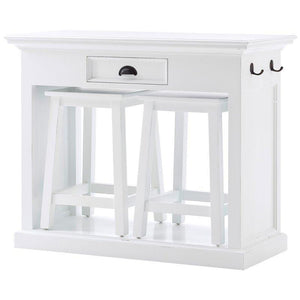 Nova Solo Halifax White Kitchen Breakfast Table with 2 Stools T767