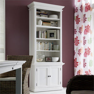 Nova Solo Halifax White Single Open Bookcase with Cupboard CA612