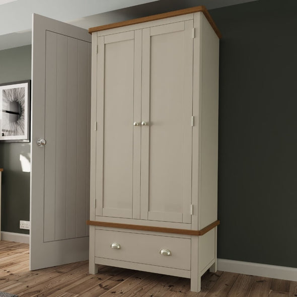 Toulouse Grey Painted Oak Wardrobe - White Tree Furniture