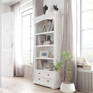 Provence White Painted Bookcase with Low Drawers - White Tree Furniture