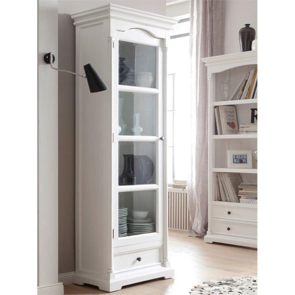 Provence White Painted Glass Cabinet with Low Drawer - White Tree Furniture