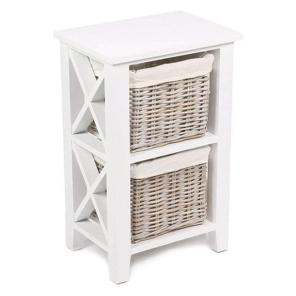 Hampshire White Painted Shelving Unit with 2 Baskets - White Tree Furniture