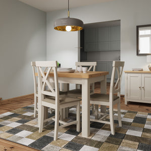 Toulouse Grey Painted Oak Square Table - White Tree Furniture