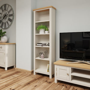 Toulouse Grey Painted Oak Tall Narrow Bookcase - White Tree Furniture