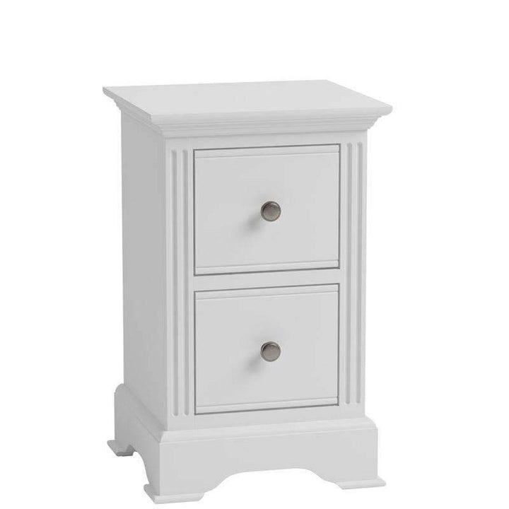 Alsace White Painted 2 Drawer Bedside Cabinet - White Tree Furniture