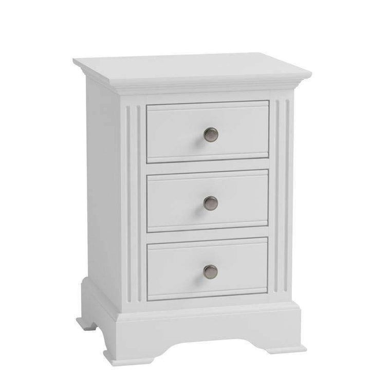 Alsace White Painted Bedside Cabinet with 3 Drawers - White Tree Furniture