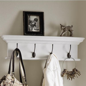 Halifax White Painted Four Hook Coat Rack - White Tree Furniture