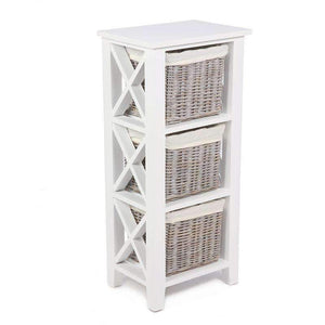 Hampshire White Painted Shelving Unit with 3 Baskets - White Tree Furniture