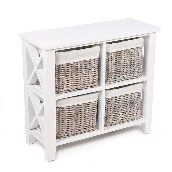 Hampshire White Painted Shelving Unit with 4 Baskets - White Tree Furniture