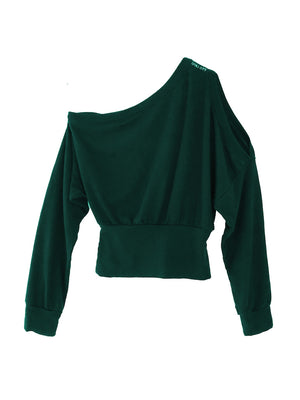 Ida Mono Shoulder Pullover | Deep Emerald