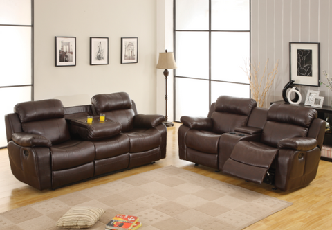 2 piece sofa loveseat recliner set in brown faux leather