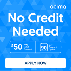 90 days no interest financing low down payment acima logo
