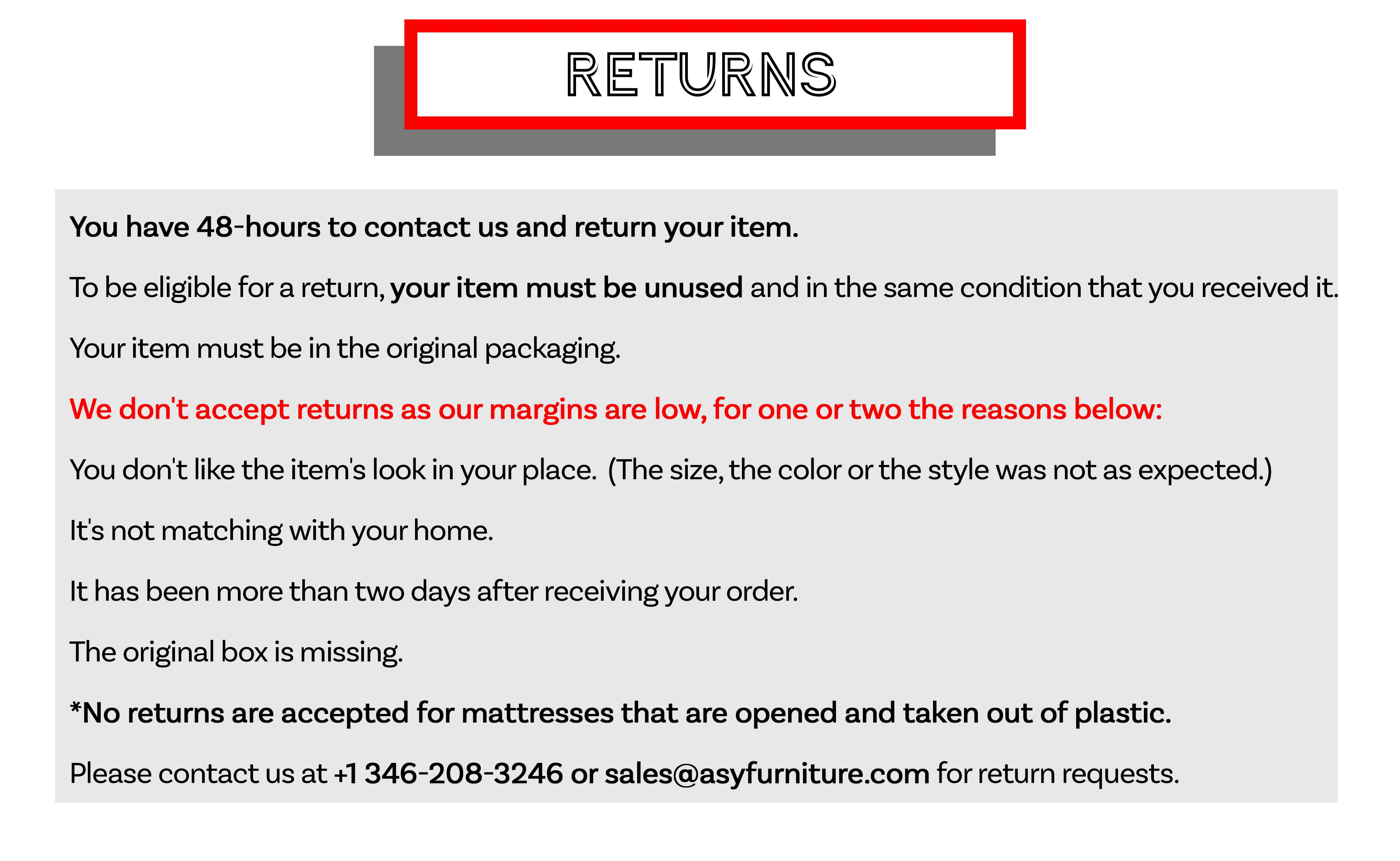 Free Furniture Returns ASY Furniture 100% Satisfaction