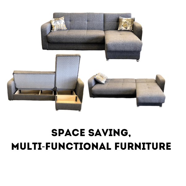 multi functional sleeper sectional with storage in gray color