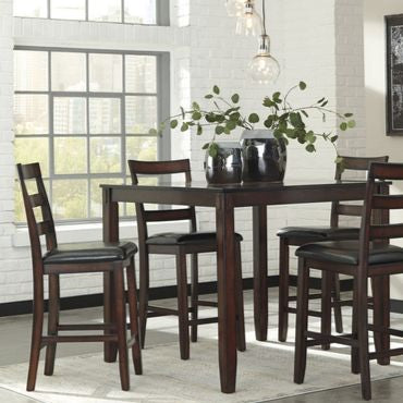 brown wood counter table height set