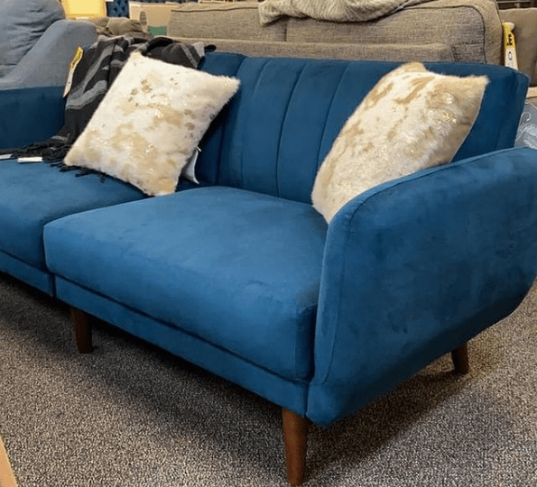 blue futon sofa in micro suede for small space at ASY Furniture Houston Stafford same day delivery